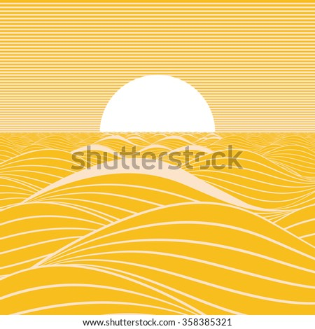 Stylized illustration of a sun rising on a yellow sea. - stock vector
