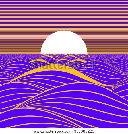 Stylized illustration of a sunset or sunrise on a purple sea. - stock vector