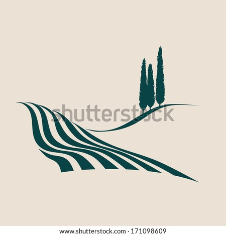 stylized illustration of a typical Italian rural landscape - stock vector