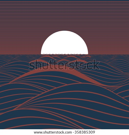 Stylized illustration of a white sun or full moon, rising or setting on a dark blue sea in a brown atmosphere. - stock vector
