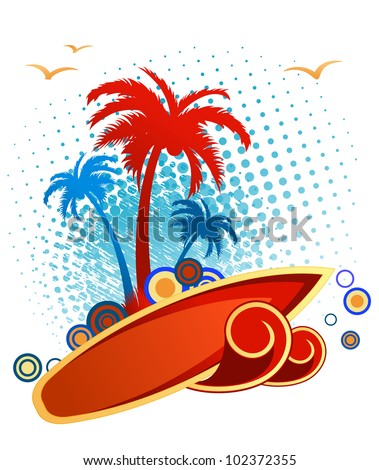 Stylized illustration of an orange speedboat filled with people cresting a wave in front of iconic palm trees on a tropical holiday. Jpeg version also available in gallery - stock vector