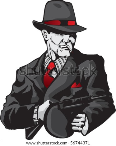 Stylized illustration of mobster - stock vector