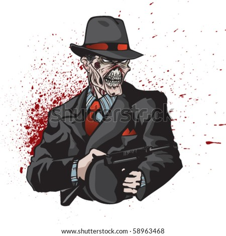 Stylized illustration of zombie mobster on bloody splatter. - stock vector