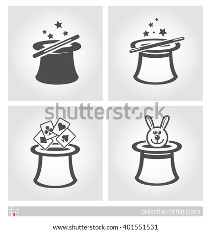 Stylized images of magician's hat. Set of flat icons. Vector illustration