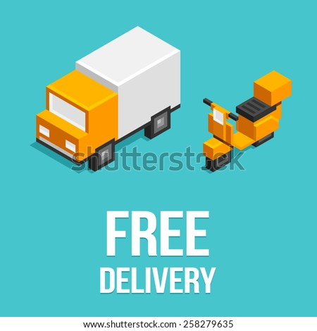 Stylized isometric delivery truck and scooter icons. - stock vector