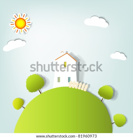 stylized landscape with a house on the hill - stock vector