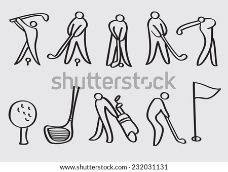 Stylized line art vector cartoon icons for golf sports isolated on grey plain background  - stock vector