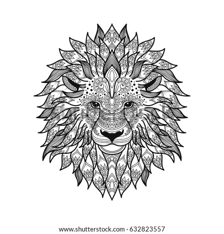 Stylized Lion Head In Zen Tangle Graphic Style With Patterned Mane And Herbal Ethnic Ornaments