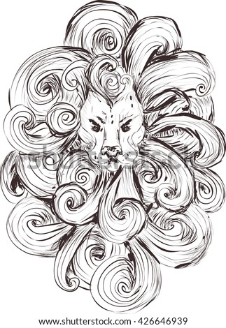 stylized lion head. outline isolated on white background. sketch for tattoo, T-shirts. rough line work - stock vector