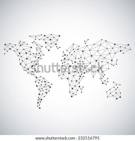 Stylized low poly World Map concept with wired construction of onnection concept. Globes business background. Vector illustration. - stock vector