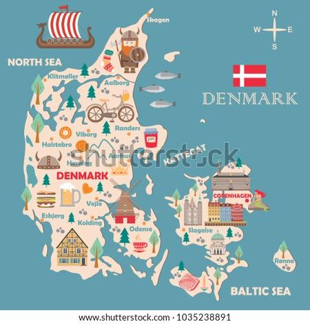 Stylized Map Denmark Travel Illustration Danish Stock Vector