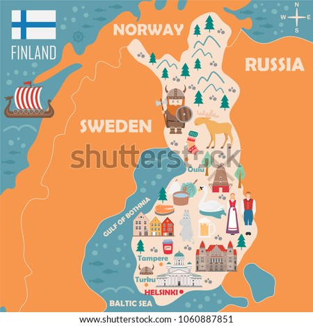 Stylized Map Finland Travel Illustration Danish Stock Vector - National landmarks map