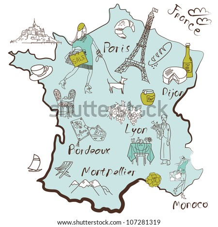 Stylized map of France. Things that different Regions in France are famous for. - stock vector
