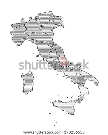 Stylized map of Italy with marked region Abruzzo (vector)