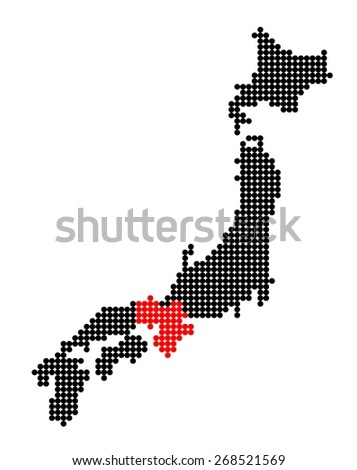 Stylized map of Japan with map of Kansai region made from red and black dots - stock vector