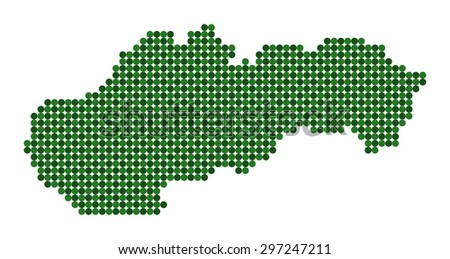 Stylized map of Slovakia made from green dots