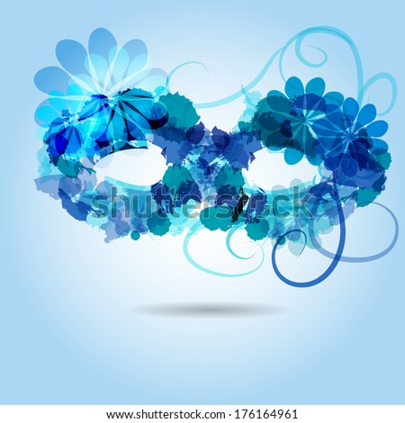 Stylized mask in shadows of blue, consist of colored blots and abstract flower - stock vector