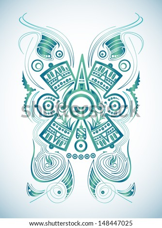 Stylized Mayan symbol - tattoo, vector illustration - surf style - stock vector