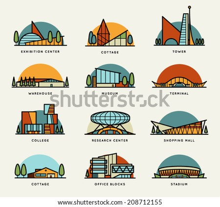 Stylized modern flat schematic city buildings set. Museum, Cottage, College, Office Blocks, Towers, Stadium, Marketplace, University, Warehouse, Terminal. Vector graphics collection, logo templates - stock vector