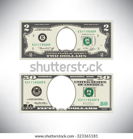 Stylized money loses face - stock vector