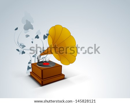 Stylized musical background with gramophone. EPS 10.  - stock vector