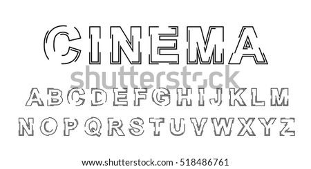 Stylized Outline Vector Font Design Isolated Modern English Alphabet Letters Creative Beautiful White Latin