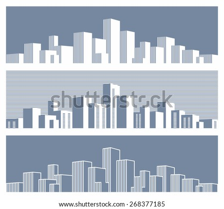 Stylized panorama of the city - stock vector