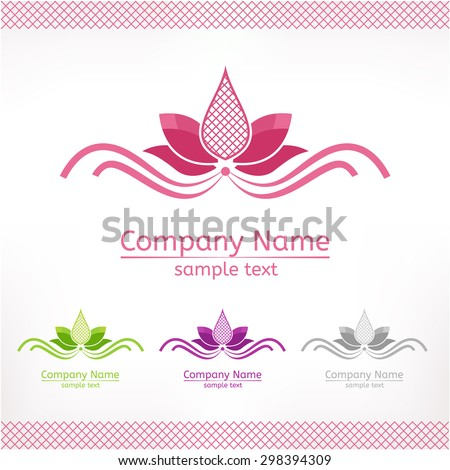 Stylized pink lotus flower, template logo design in green purple and grey version - stock vector