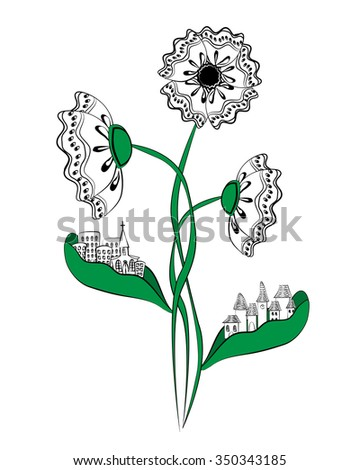 Stylized poppy flower with cities on the leaves. City silhouettes on flower leaves. Ecology concept of clean environment. Doodle background.  - stock vector