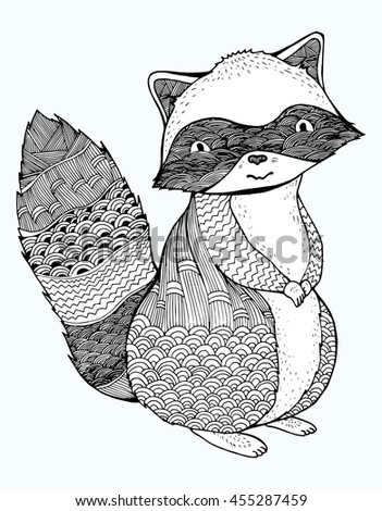 stylized raccoon forest inhabitant ornamental black and white drawing by hand line