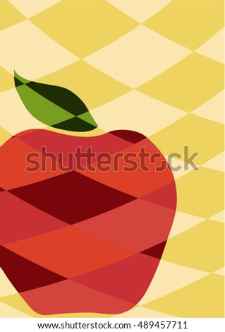 Stylized red apple with green leaf on curved diamond patchwork background