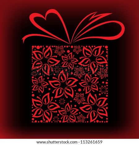 stylized red box with a bow of beautiful flowers - stock vector