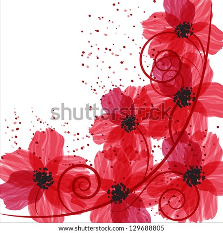Stylized red flowers. Abstract floral background. - stock vector