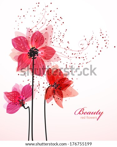 Stylized red flowers. Abstract floral background. Vector illustration