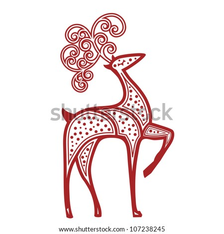 Stylized reindeer red dots - stock vector