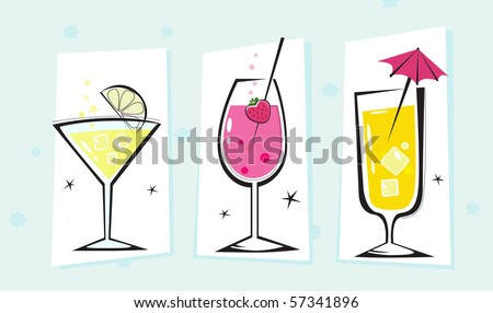 Stylized retro drinks collection isolated white background. Martini and Cocktails glasses. Take hot summer mixed drinks! Vector - stock vector