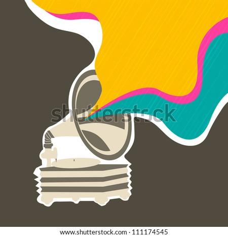 Stylized retro musical background with gramophone. EPS 10. - stock vector