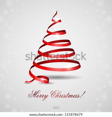 Stylized ribbon Christmas tree. Vector illustration. Eps 10. - stock vector
