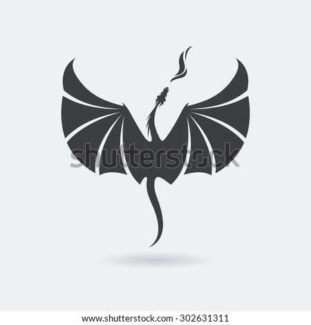 Stylized rising flying Dragon breathing fire. Image in grey color.  Vector illustration. Works well as a tattoo, icon, emblem, print or mascot. - stock vector