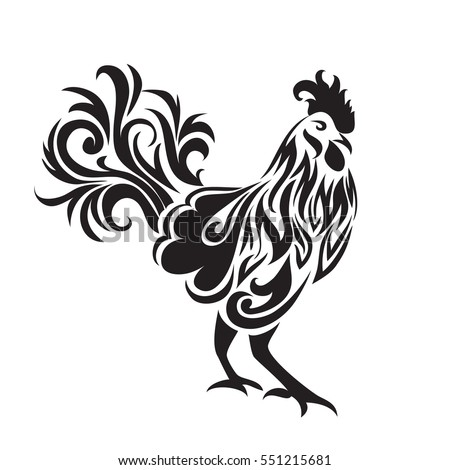 stylized rooster. decorative symbol of chinese new year