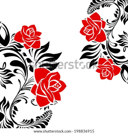 stylized rose. Greeting Card. Vector - stock vector