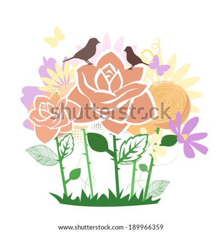 Stylized roses with birds flowerbed. Vector  - stock vector