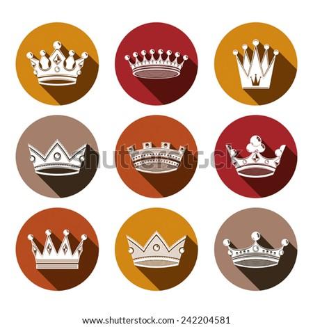 Stylized royal 3d design elements, set of king crowns. Majestic symbols isolated on white. Coronation idea. - stock vector