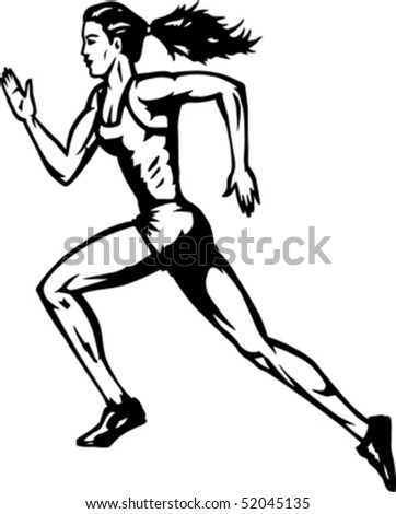 Stylized runner - stock vector