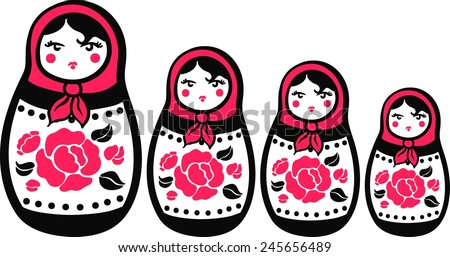 Stylized Russian nested dolls with red roses with black leaves. Matryoshka. Isolated - stock vector
