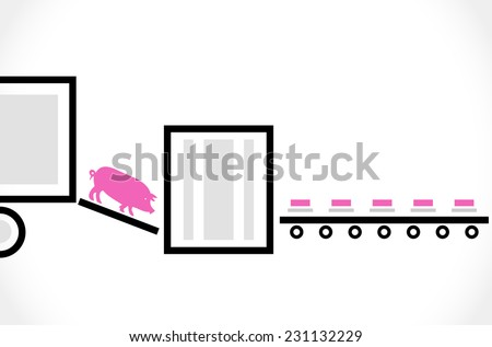 Stylized scheme of the pork processing - vector illustration - stock vector