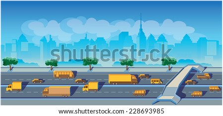 stylized seamless horizontal illustration on the highway, on the background of the city. may be used in advertising, as a background, animation, etc. - stock vector