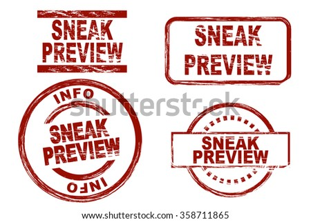 Stylized set of ink stamps showing the term sneak preview. - stock vector