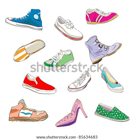 stylized shoes and sneakers over a white background