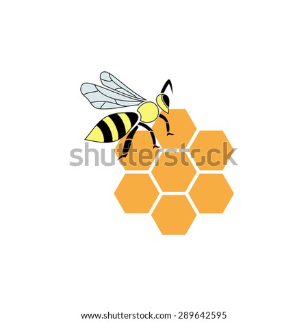 Stylized silhouette of a bee on light background - stock vector